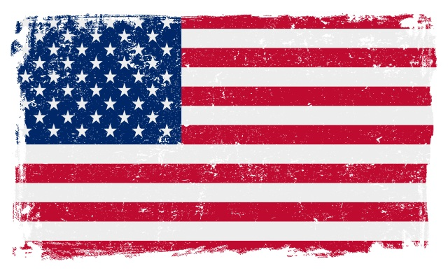 USA American vector grunge flag isolated on white background.