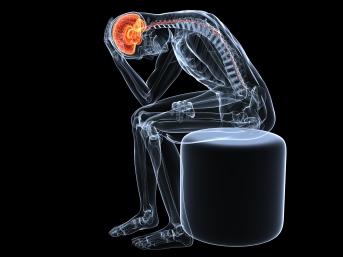 Kopfschmerzattacke - sitzendes Skelett