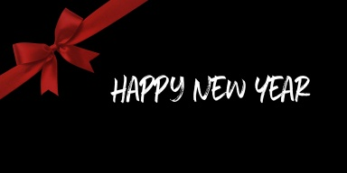 happy new year with red ribbon